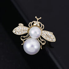Antique Gold  Bumble Rhinestone Pearl Bee Brooch Vintage Insect Pin