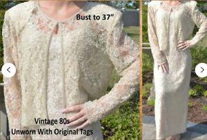 Vtg 80s Stenay Ivory Beaded Long Dress & Short Jacket Orig Tags $169 Sz 10 WOW!