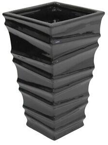 24cm Tall Ceramic Gloss Black Rippled Flower Vase Flared Square Flower Vase