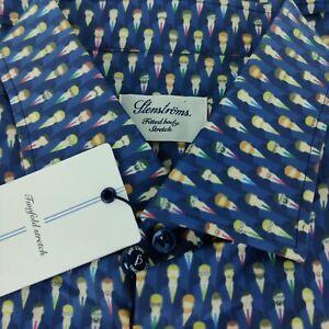NWT Stenstroms Businessmen Print Fitted Body Stretch Blue Dress Shirt 17.5 (44)