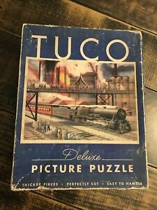 Vintage Tuco Deluxe Picture Puzzle Train Pennsylvania Railroad PRR Rare