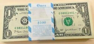 """2003 """"G"""" Chicago $1 STAR PACK Fresh W/ BEP Strap $100FV 100 Consecutive Notes"""