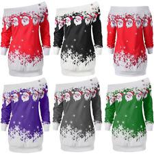 UK Women Girls Christmas Jumper Dress Ladies Xmas Santa Long Sleeves Tops Blouse