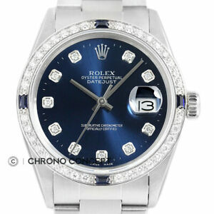 Rolex Mens Datejust Quickset 18K White Gold Diamond & Sapphire Watch