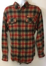 Harley Davidson Flannel Shirt Men L Red Black Flap Pockets Wings Bar Shield Logo