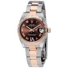 Rolex Datejust 31 Chocolate Dial Steel and 18K Everose Gold Diamond Ladies