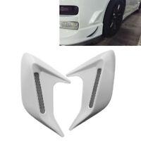 2x White Car Decorative Air Scoop Outlet Flow Intake Hood Vent Bonnet