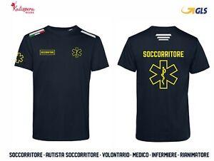 T-SHIRT croce sanitaria SOCCORSO volontario LOGO tricolore