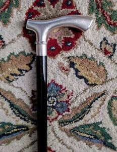 """Men's Silver Plated Fritz Style Handle Walking Cane Black Wood Shaft 36"""" L"""