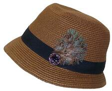 A&W Women's Paper Straw Cloche Hat W/Jewels, Feathers & Band #1073 Brown