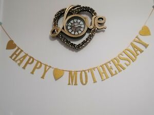 Happy Mothers day Banner/Bunting *SPARKLY GOLDEN * Handmade *2.5m Long*