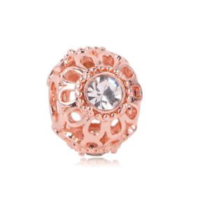 NEW Rose Gold Sparkly Crystal Daisy European Charm Bracelet Pendant Jewelry Bead