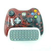 Xbox 360 Wireless Controller Red Gears Limited Edition Chatpad Message Keyboard