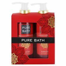 Pure Bath Lavender & Waterlily Ladies Shower Gel & Bubble Bath Pamper Gift Set