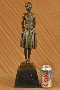 Hand Made bronze sculpture Hom Base Marble Housewife Mom Original SignedUG
