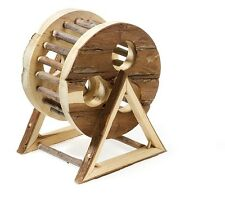"""Natural Wooden Hamster Exercise Wheel Free Standing Toy 18cm (7"""")"""