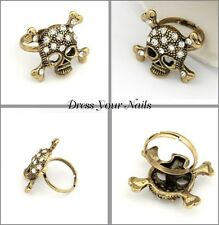 Skull Ring Costume Jewellery Crystal Golden Goth Punk Adjustable Fashionable