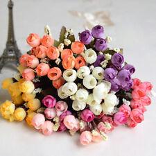 15 Buds /Bouquet Artificial Silk Rose Flower Wedding Apricot purple fringe
