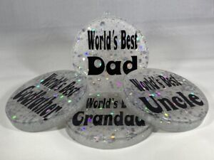 Personalised Resin Coaster Paperweight. Gift for Dad Stepdad Grandad Uncle & All