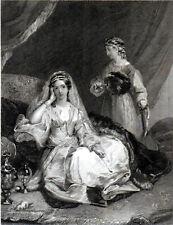WOMAN SITTING IN ORIENTAL SETTING 1836 Goodyear - Seyffarth ANTIQUE ENGRAVING