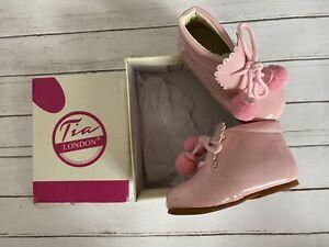 NEW Girls Pink Shiny Boots Tia London Spanish Romany Style Size 5