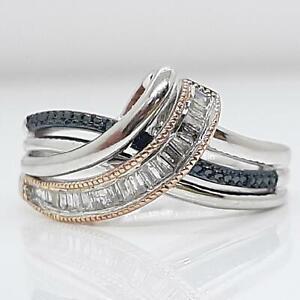 Genuine .34ctw Fancy Blue & H-SI Diamond Baguette Solid 10K Rose Gold 925 Ring
