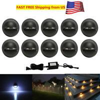 10X Black 12V 35mm LED Deck Rail Step Stair Fence Lights Low Voltage Waterproof