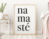 NAMASTE Classy Stylish Home Life Quote Wall Art Poster Print Black Typography