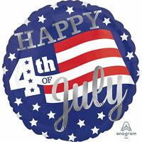 HAPPY 4TH OF JULY AMERICAN FOIL BALLOON AMERICA USA STARS & STRIPES FLAG 43CM