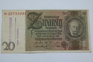 BANKNOTE BELGIUM WWII 20 MARK 1929 CENTRE RASSEMBLEMENT VERY RARE B21 BEL88