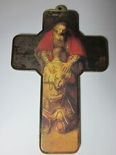 """The Prodigal Son by Rembrandt Picture Wall Cross on Wood  5"""" Made in Italy"""
