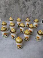 """Vintage Merry Mushroom Spice Shakers Jars Set of 13 Sears & Roebuck 4.5"""" 1970's"""