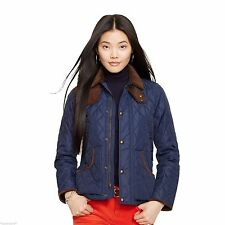 $365 RALPH LAUREN POLO SUEDE LEATHER QUILTED COAT JACKET Navy Chepstow L