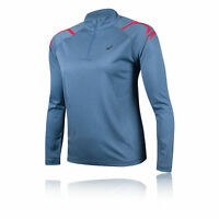 Asics Womens Icon Long Sleeved 1/2 Zip Top Blue Sports Running Breathable