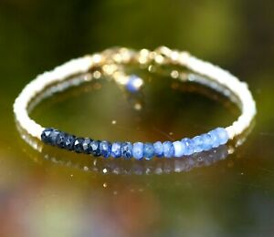 """Natural Ombre Sapphire and Pearl Bracelet 14K Yellow Gold Filled 7 1/5"""" - 7 3/4"""