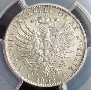 1902, Kingdom of Italy, Victor Emmanuel III. Ni 25 Centesimi Coin. PCGS MS-63!