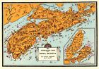 c1930 Antique NOVA SCOTIA Canada Picture Map Animated Map of Nova Scotia 5857