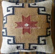 Indian Kilim Cushion Cover 18X18 Pillows Boho Ethnic Shams Jute Pillow Cases Art