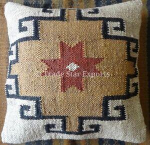Indian Kilim Cushion Cover 18X18 Pillows Boho Ethnic Jute Rug Throw Pillow Case