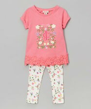 Juicy Couture Pink Lace Trim Tee & Floral Leggings Size 4T 5 6 MSRP $64 NWT