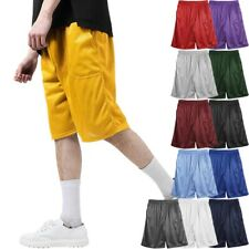 MENS PLAIN MESH SHORTS 2 POCKET CASUAL BASKETBALL SHORTS GYM FITNESS PE