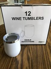 New listing Hasle Outfitters 12 Pack 12 oz Stemless Wine Glass w/Lid, Stainless Steel White