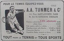 PUBLICITE A.A TUNMER SPORT VETEMENT POUR LE TENNIS OXFORD DE 1918 FRENCH AD PUB