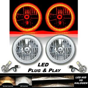 "7"" Amber SMD LED Halo Angel Eye Crystal Clear H4 Headlight & 6500k LED Bulb Pair"