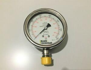 Oxygen Pressure Gauge Black Teknigas 0-7000 PSI 0-480 Bar Oxygen Pressure Gauge