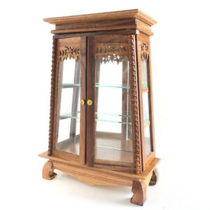 Miniature Wooden Cabinet Display Hand Carved Brown Furniture Doll House Decore