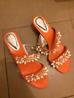 Ladies Size 12 Orange Summer Shoes Size 44
