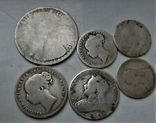 6 X VICTORIA STERLING SILVER BRITISH COINS , NOCE LOT