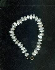 "Vintage 14k Yellow Gold White Freshwater Pearl / "" Rice Pearl "" Bracelet 6 1/2"""