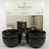 Set of 4 - Hearth and Hand Magnolia - Black Stoneware - Mini Dessert/Snack Bowls